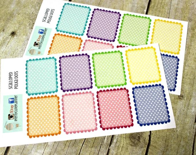 Full Box Planner Stickers - Planner Sticker Set - Erin Condren Life Planner - Happy Planner - Functional stickers - Scalloped Polka Dot