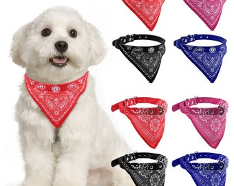 Dog or Cat Bandana Collar- Adjustable Pet Neckerchief, Small, 3 Colours Available