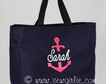 Adorable Monogrammed Navy Anchor Tote