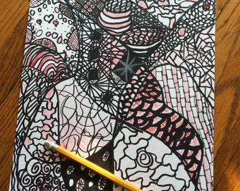 Monochromatic red zentangle