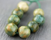 Mixed greens and orange porcelain bead set-Ronnie's beads