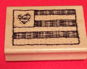 Large Stitched With Love American Flag Stamp