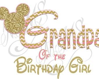 Mickey Minnie Mouse Grandpa Big Sister Shirt DIY Iron On Digital Art Little Sister Matching Pink Gold Pregnancy Announcement