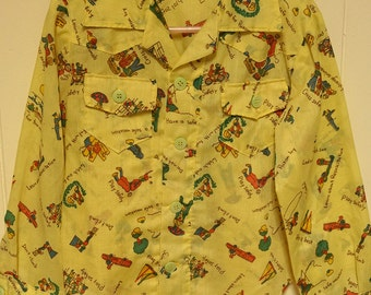 Vintage kids button up shirt camping