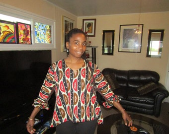 Ruffled Sleeved Mini Top, 100% One of a Kind, Size Small Women's Afrocentric Fashionable Blouse, Free Shipping