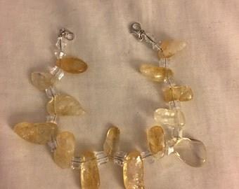 Citrine stone and crystal beads bracelet