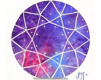"5x7"" Art print: Brilliant cut diamond on pink, blue & violet watercolour with white sparkling stars | Dot art | Wall art | Gem prism print"