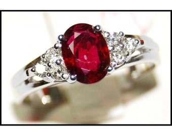 Solitaire Ruby Ring and Diamond 18K White Gold [RS0013_2]