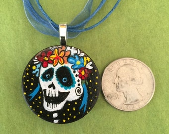 Hand painted wood pendant day of the dead inspired