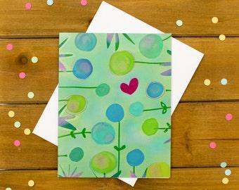 flower card - cute greeting card, pretty flowers, just because card, thank you card, blank card, girlfriend card, friend card