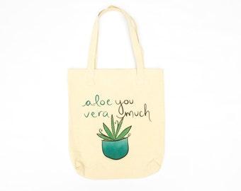 cute tote bag - succulent gift, funny pun, canvas travel bag, market bag, tote bag for school, canvas beach bag, cotton tote, funny bag