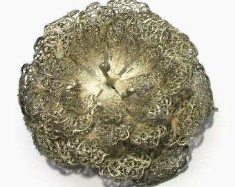 Antique Russian 1920s Brooch Sterling Silver Filigree Rose Flower Blossom Petals Hibiscus Wild