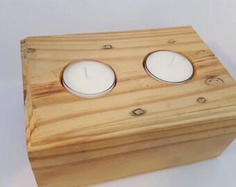 Repurposed Wood Tea Light Holders