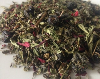 Berry Mojito Green Tea, Loose Leaf, Blueberry, spearmint, Spring Green Tea