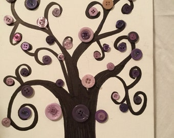 Purple Button Wall Art