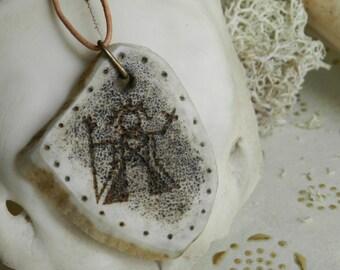 Wood reindeer with pattern Horagalles pendant