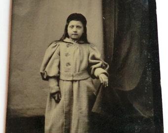 Tintype Photo Girl Wearing Wool Coat Long Dark Hair