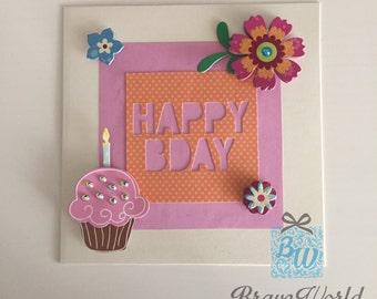 Handmade Birthday Card, Flowers Theme, Card, Birthday, Craft, Personalised, Flowers
