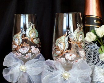 Hand painted champagne glasses Set of 2 Butterfly wedding glasses Wine Glasses Spring Wedding Glasses Pearl Glasses Toasting flutes