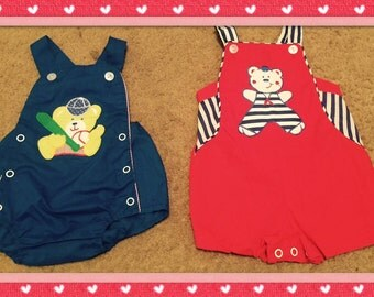 Lot of 2 Vintage Baseball & Sailor Bear Baby Boy Rompers  sz 3-6 mo Cuties by Judy Mint Condition!