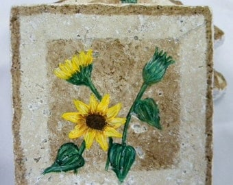 Sunflower Coasters, Natural Stone Coasters, Hand painted, Set of 4