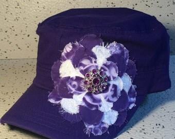 Vintage Purple Cap w/Purple & White Floral Accent