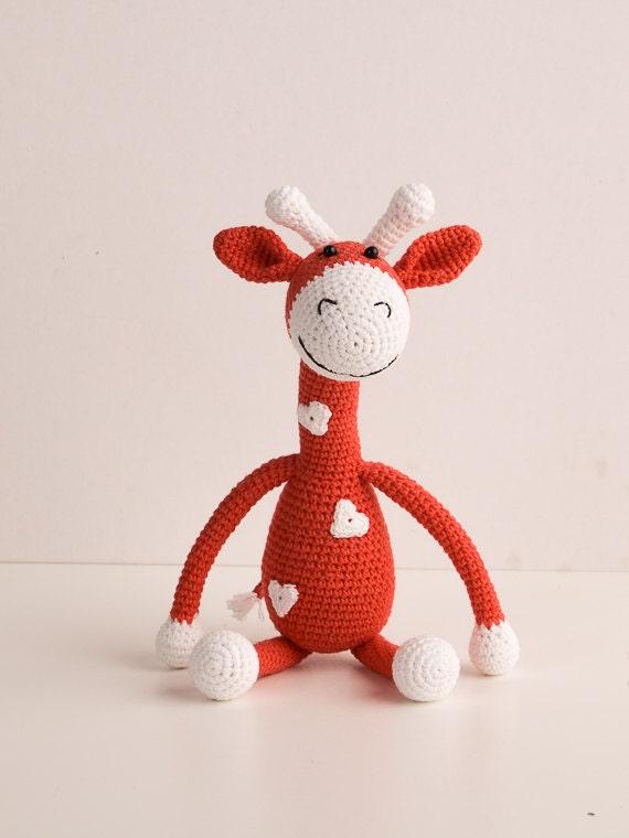 Cuddly Amigurumi Giraffe : Red Giraffe crochet Giraffe Amigurumi Soft Toy Giraffe