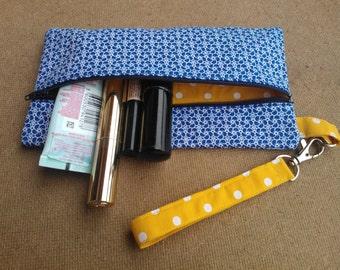 Zipper pouch Wristlet Pencil case Make-Up bag Blue & Yellow Gift Idea