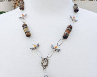 Tigers Eye Dragonfly Necklace