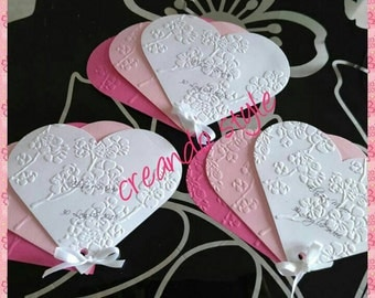 Hand-decorated paper fans customizable wedding beaded communion baptism christening or birthday!