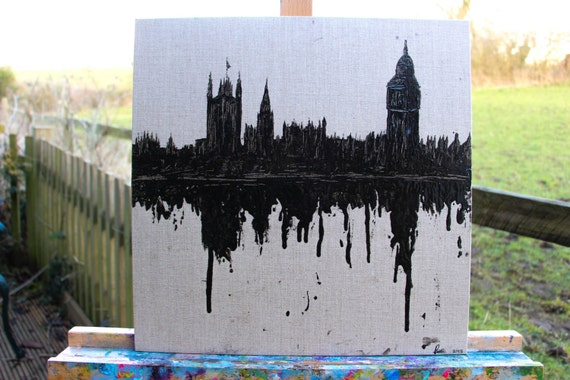 Dripped London Skyline Oil Painting