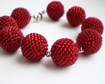 Red beaded bracelet Red bracelet with beads beads Beaded bracelet Peyote bracelet Beadwork Bracelet Seed bead jewelry Red beaded bracelet