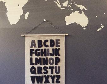 ABC wall scroll, kids room, playroom wall banner, customised, nursery wall decor, alphabets, ready to ship