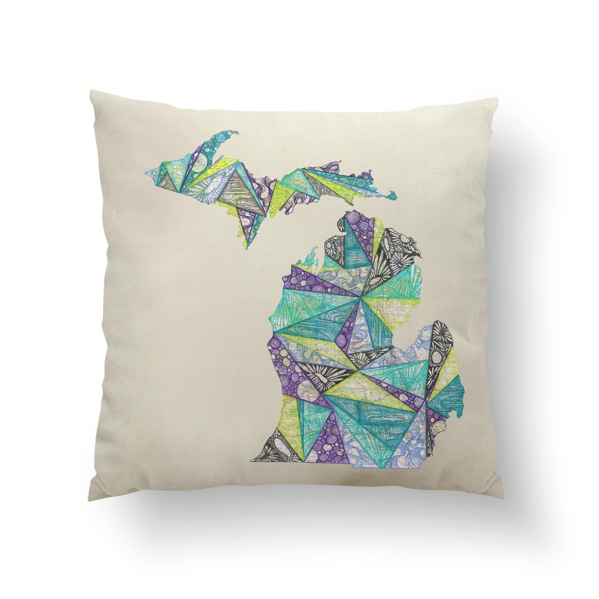 16 Lime Green & Purple Michigan State Pillow w/ Insert