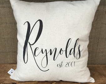 Custom Script Name and Year pillow cover