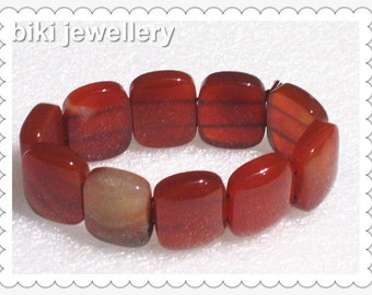 Handcrafted red Agate bracelet #B8099