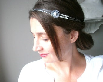 Headband wedding-ceremony silver metal beads glass and cream flowers.