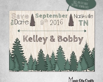 Forest Save the Date | Printable Forest Save the Date | Rustic Save the Date | Woodland Save the Date | Pine Forest Save the Date 006-Forest