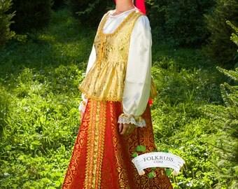 Vestido eslavo tradicional ruso de mujer Sudarinya, pintoresco traje típico, vestido de brocado, vestido popular, vestido escénico rico, vestido de oro