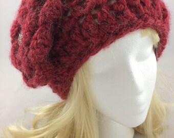 Women red hat, Women Crochet hats, Red crochet hat, Women winter hats, women Red knit hat, women alpaca hat, women knit hat, red alpaca hat