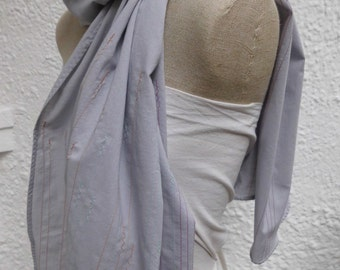 Scarf grey cotton with delicate coloured stitching ladies Larissa