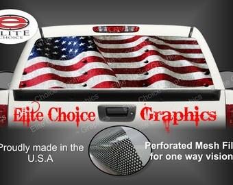 American Flag Rivets Rear Window Graphic Tint Decal Sticker Truck SUV Van Car
