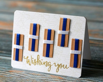 White & Blue Gift Box Card, For Her, For Him, Wishing You...