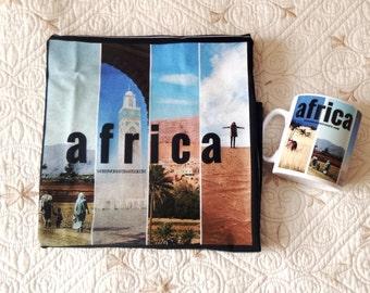 Wanderlust Africa - gift set for women - t-shirt & mug - collage print - two piece set - travel - original design by ©WhenWomanTravels