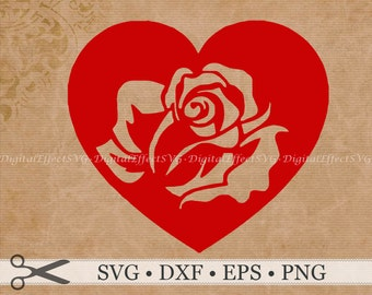 HEART ROSE SVG File, Heart Silhoutte Svg, Png, Dfx, Eps, Rose Stencil Cut Out, Rose Vector Heart Image, Valetine Svg Silhoutte Studio Cricut