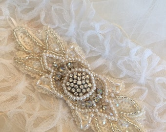 Vintage Lace Crystal and Pearl Wedding Cuff
