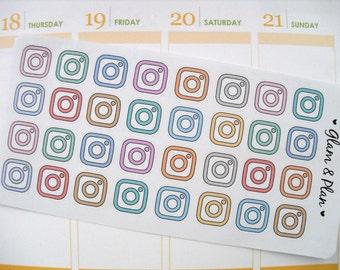 32 Instagram Stickers Planner Stickers | Erin Condren Filofax Happy Planner Kikki K