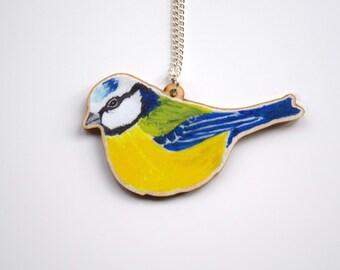 Wooden Blue Tit Garden Bird British Wildlife Necklace