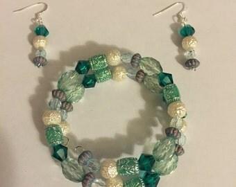 Teal bracelet and earrings set