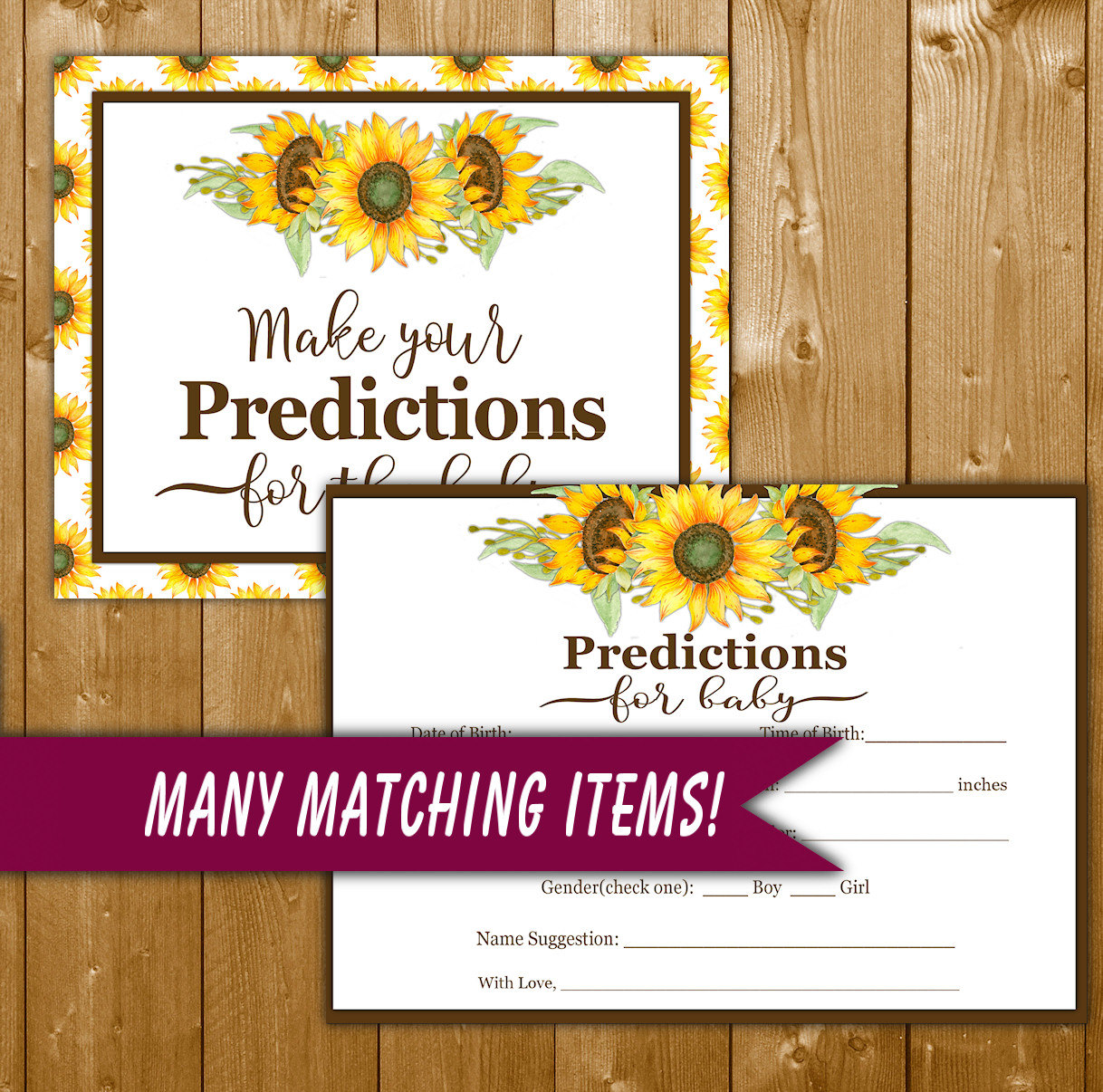 sunflower predictions for baby baby shower by showerprintables